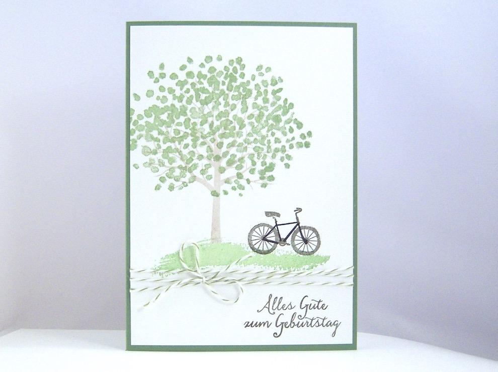 Geburtstag Karte.Karte Zum Geburtstag Baum Und Fahrrad