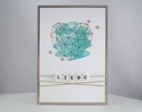 Hochzeitskarte -grafisches Herz- blau Bild 1
