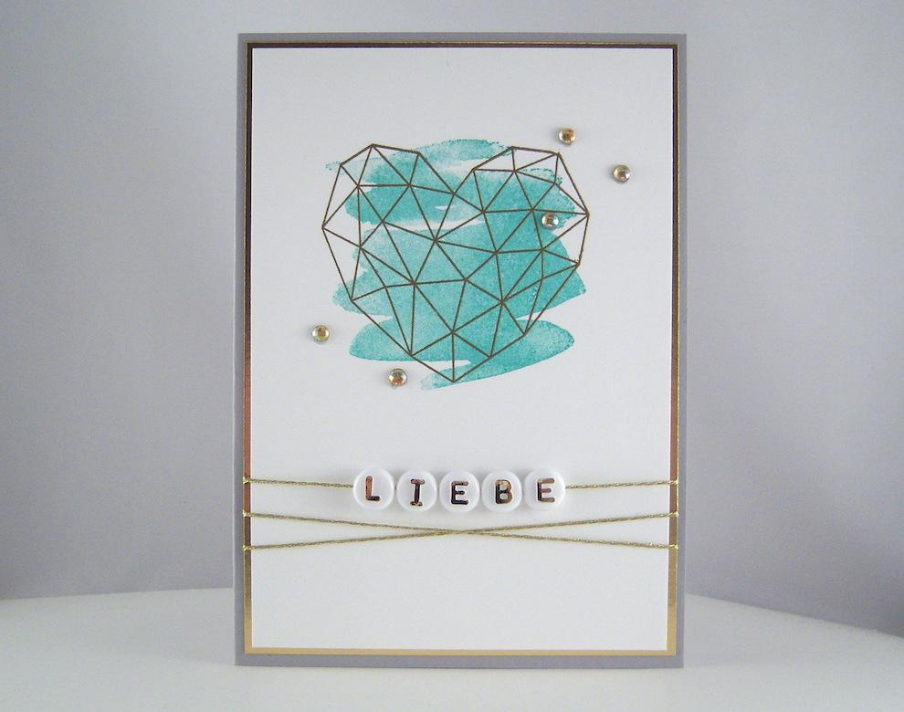 Hochzeit - Hochzeitskarte -grafisches Herz- blau Bild 1