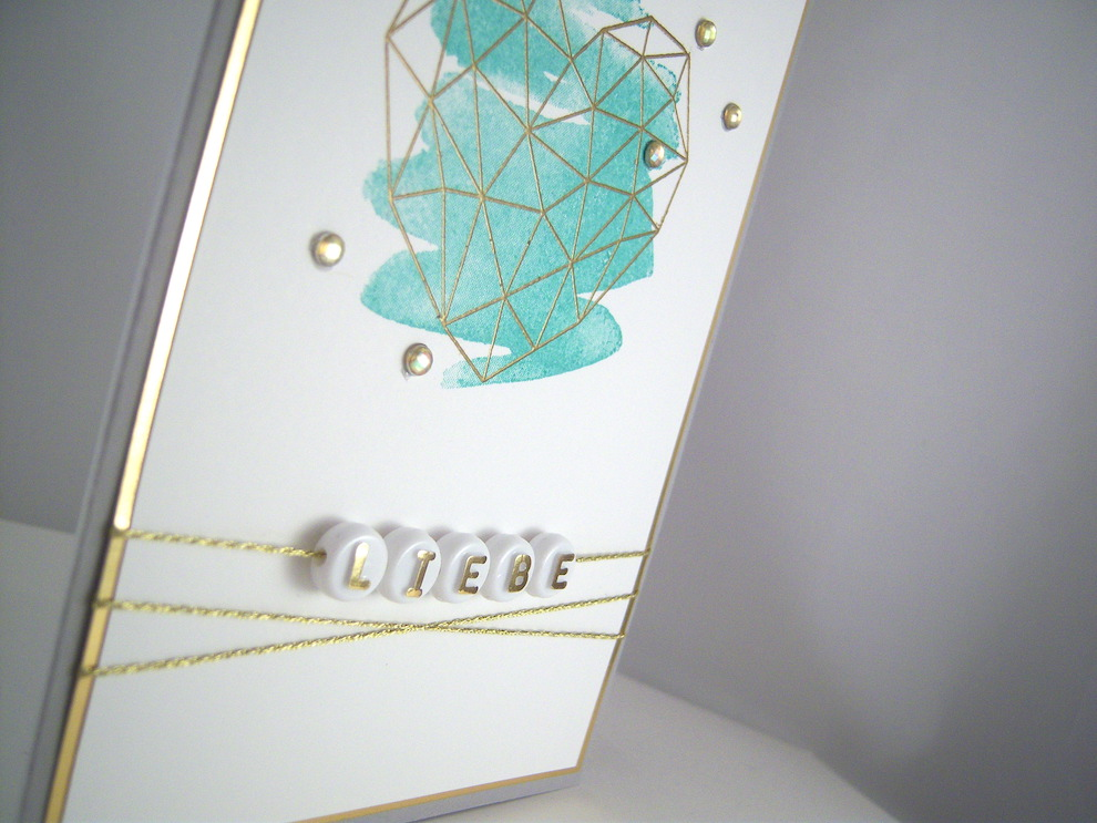 Hochzeitskarte -grafisches Herz- blau Bild 2
