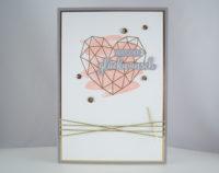 Hochzeitskarte -grafisches Herz- rosa Bild 1