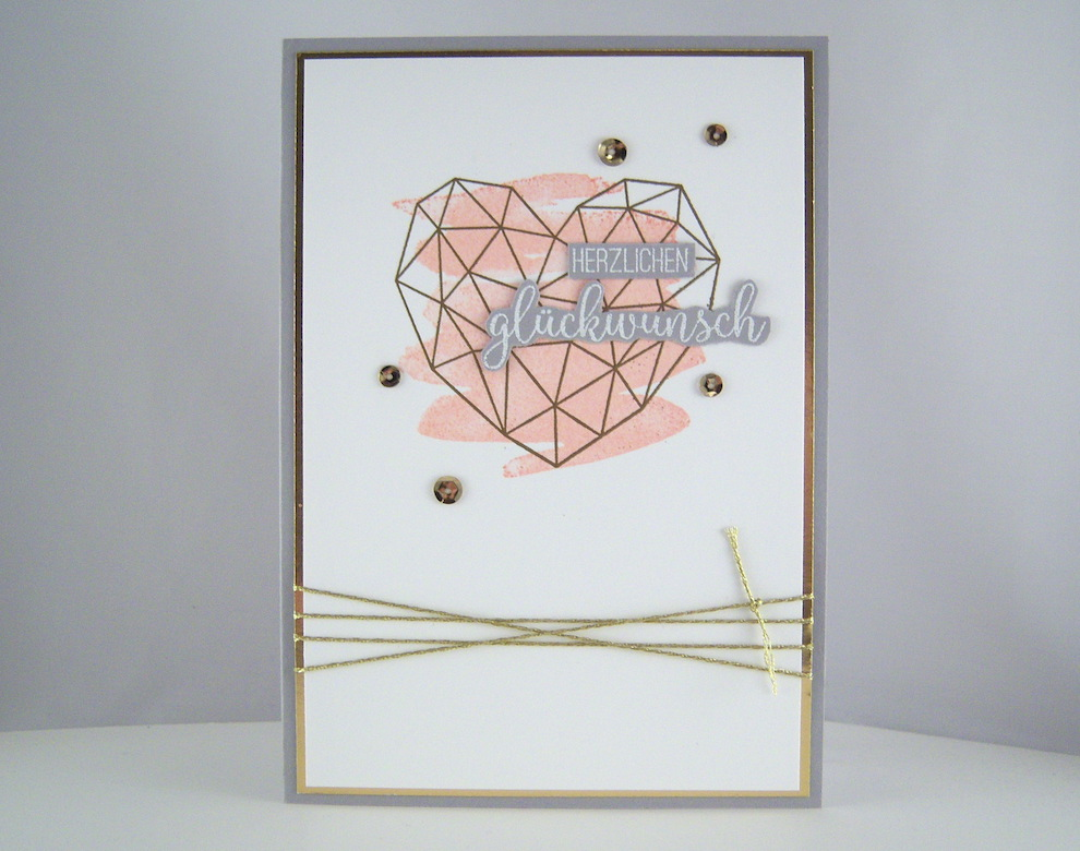 Hochzeit - Hochzeitskarte -grafisches Herz- rosa Bild 1