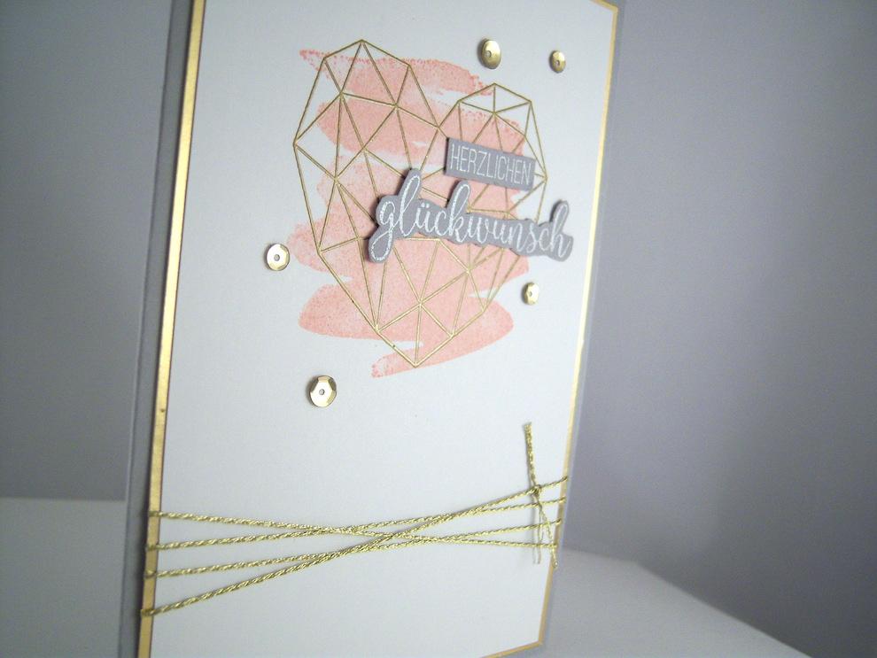 Hochzeitskarte -grafisches Herz- rosa Bild 2