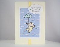 Karte zur Geburt -Baby mit Regenschirm- Bild 1