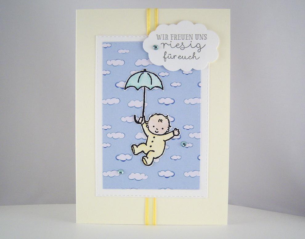 Geburt / Taufe - Karte zur Geburt -Baby mit Regenschirm- Bild 1
