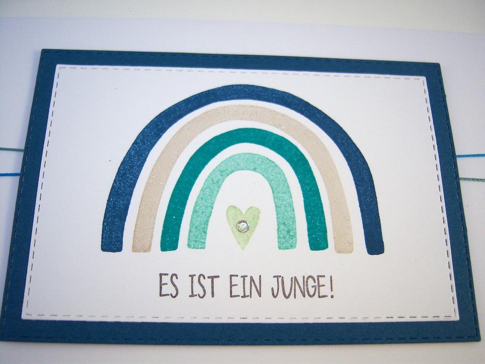 Babykarte Regenbogen blau Bild 2