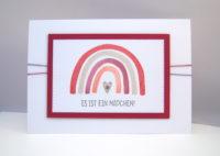 Babykarte Regenbogen rosa Bild 1