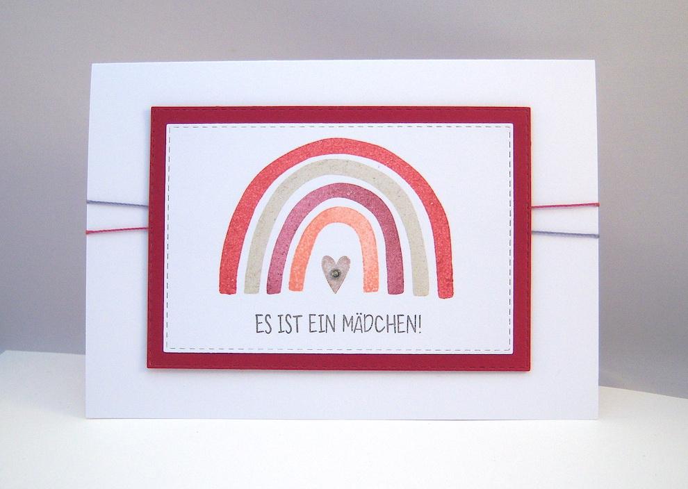Geburt / Taufe - Babykarte Regenbogen rosa Bild 1