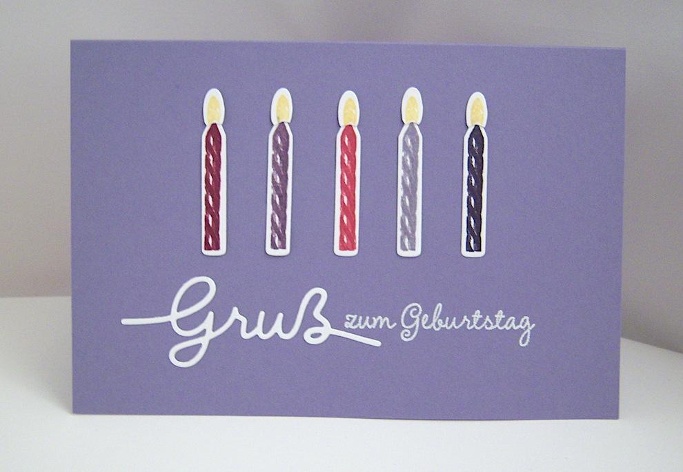 Geburtstag - Geburtstagskarte -Kerzen, lila- Bild 1