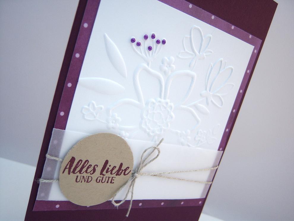 Geburtstagskarte -geprägte Blumen- Bild 2