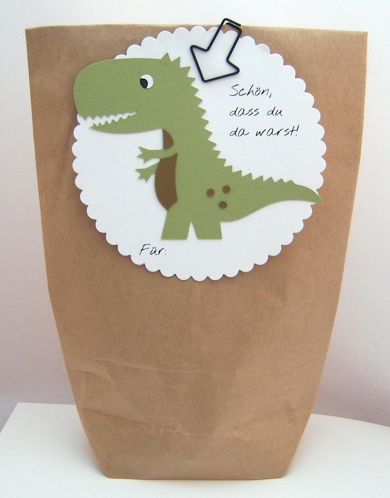 Geburtstag, Verpackungen - Geschenktüte -Dino- Bild 1