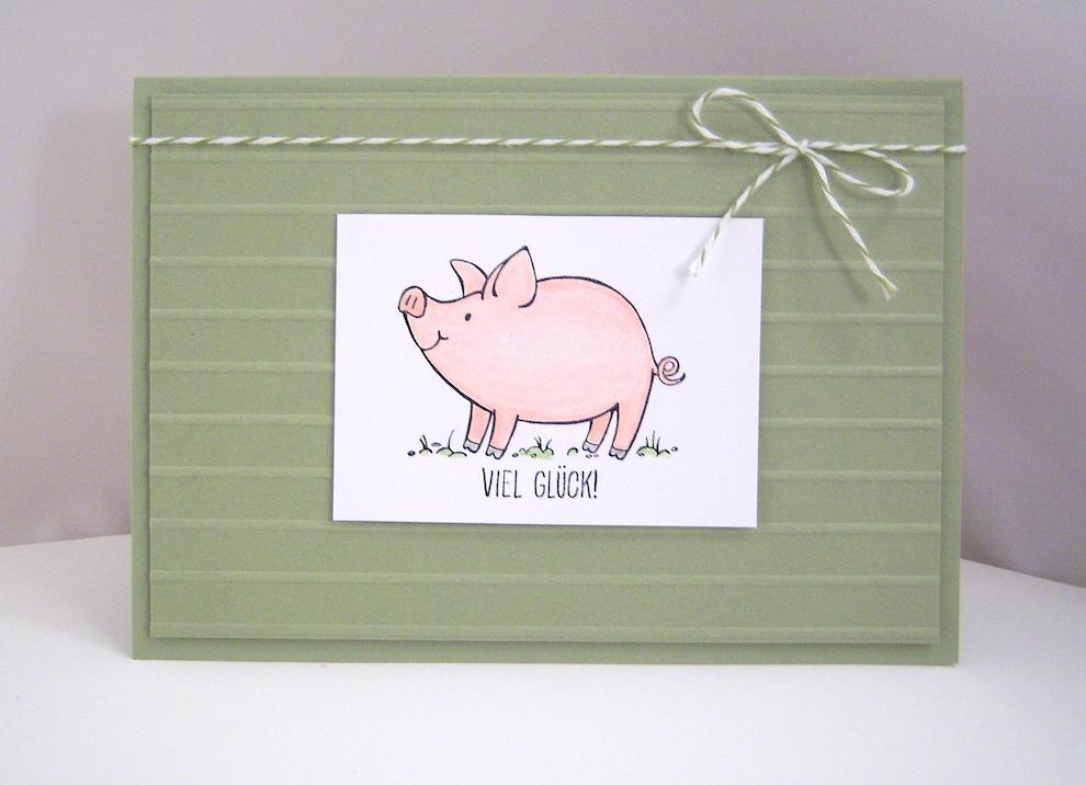 Sonstiges - Grußkarte Viel Glück Schweinchen Bild 1