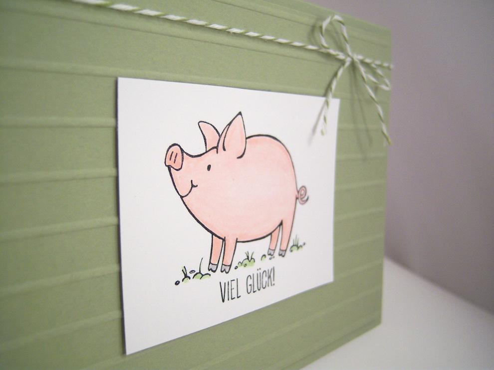 Grußkarte Viel Glück Schweinchen Bild 2
