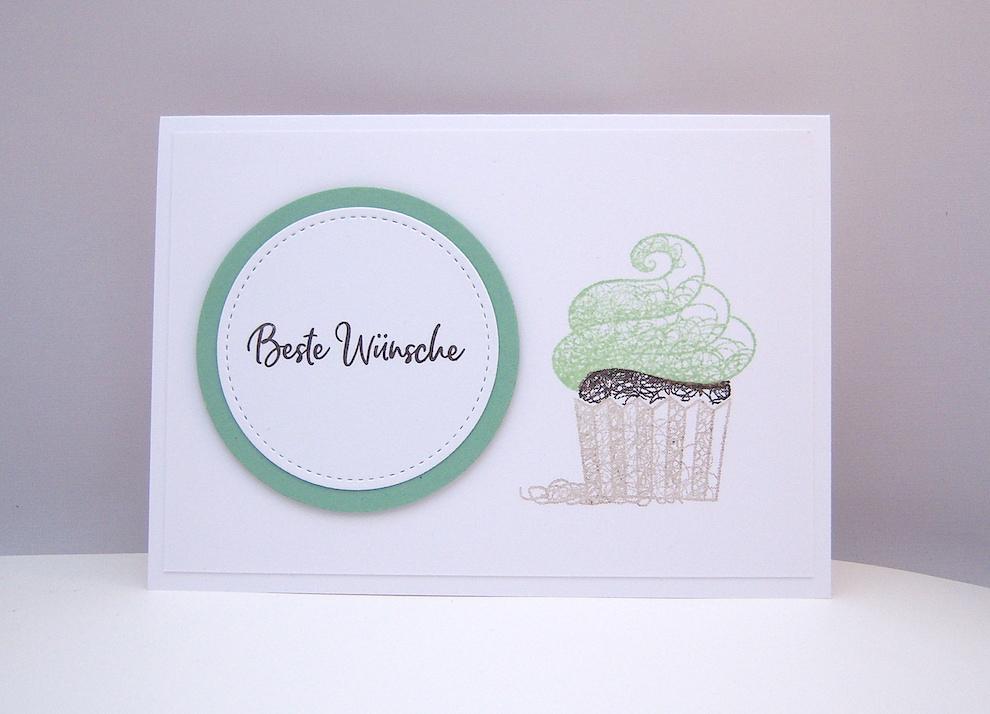 Sonstiges, Geburtstag - Grußkarte Cupcake Pistazie Bild 1