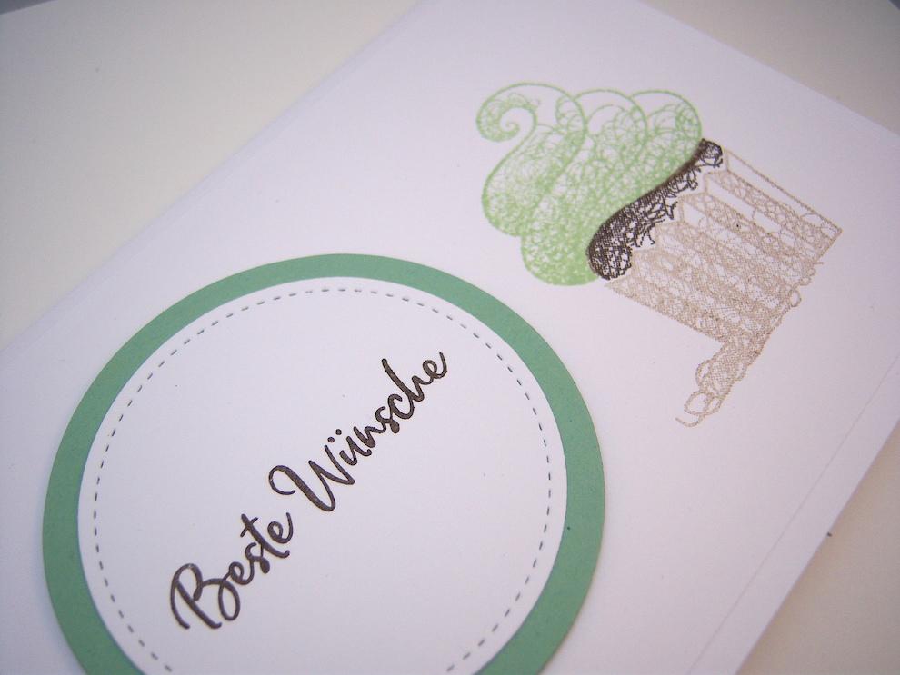 Grußkarte Cupcake Pistazie Bild 3