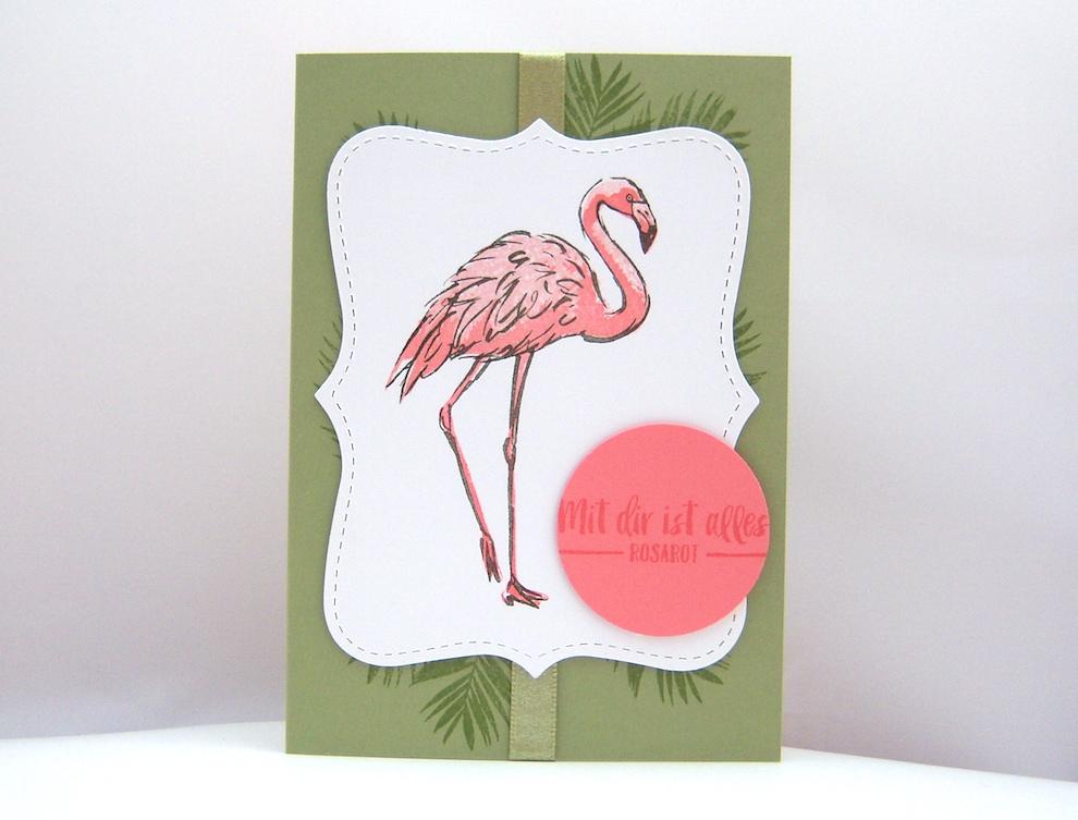 Grußkarte Flamingo Bild 1