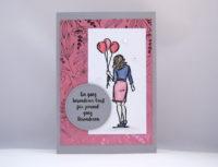 Grußkarte -Frau mit Luftballons- Bild 1