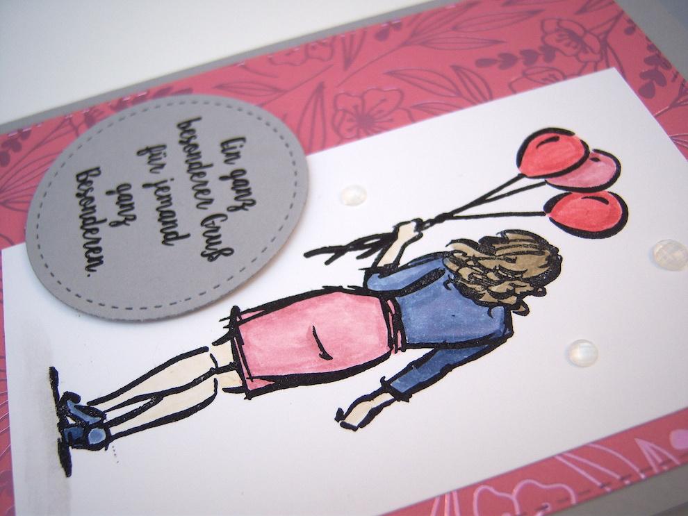 Grußkarte -Frau mit Luftballons- Bild 2