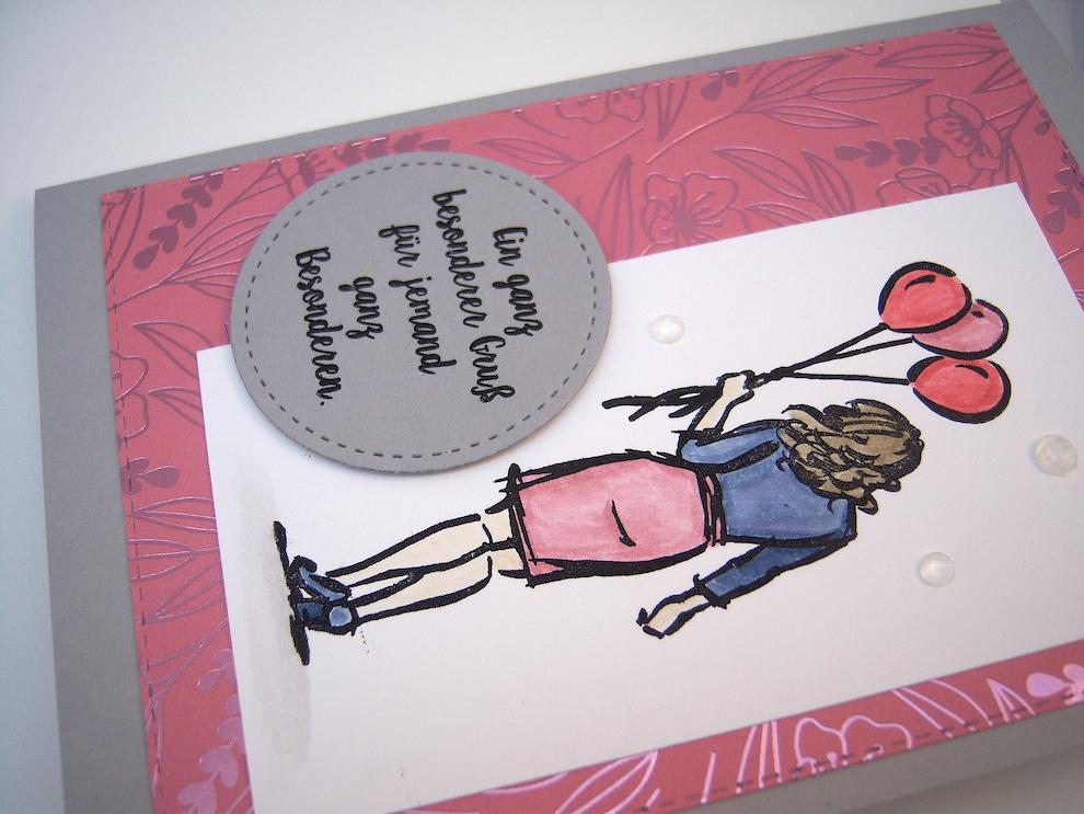 Grußkarte -Frau mit Luftballons- Bild 3
