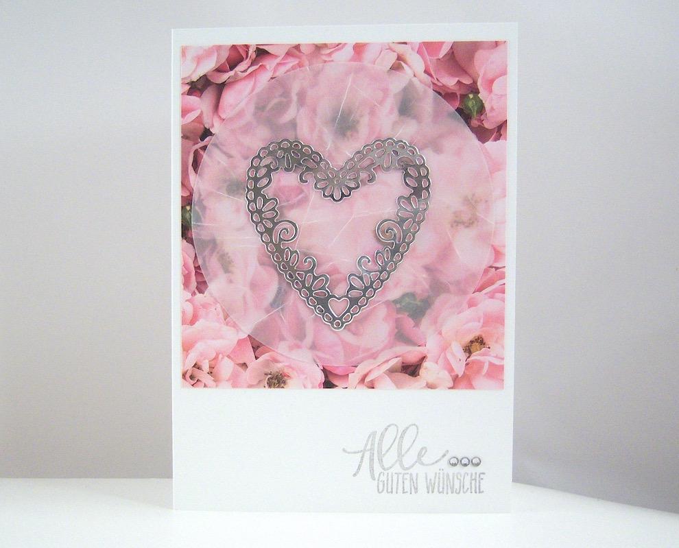 Hochzeit - Hochzeitskarte -Herz und Blumen- Bild 1