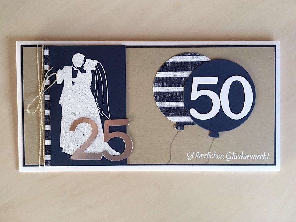 Geburtstag, Hochzeit - Karte zur Silbernen Hochzeit und 50. Geburtstag Bild 1