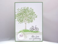 Karte zum Geburtstag Baum Fahrrad 1