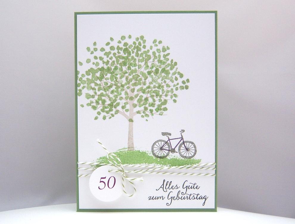 Geburtstag - Karte zum Geburtstag Baum Fahrrad 1