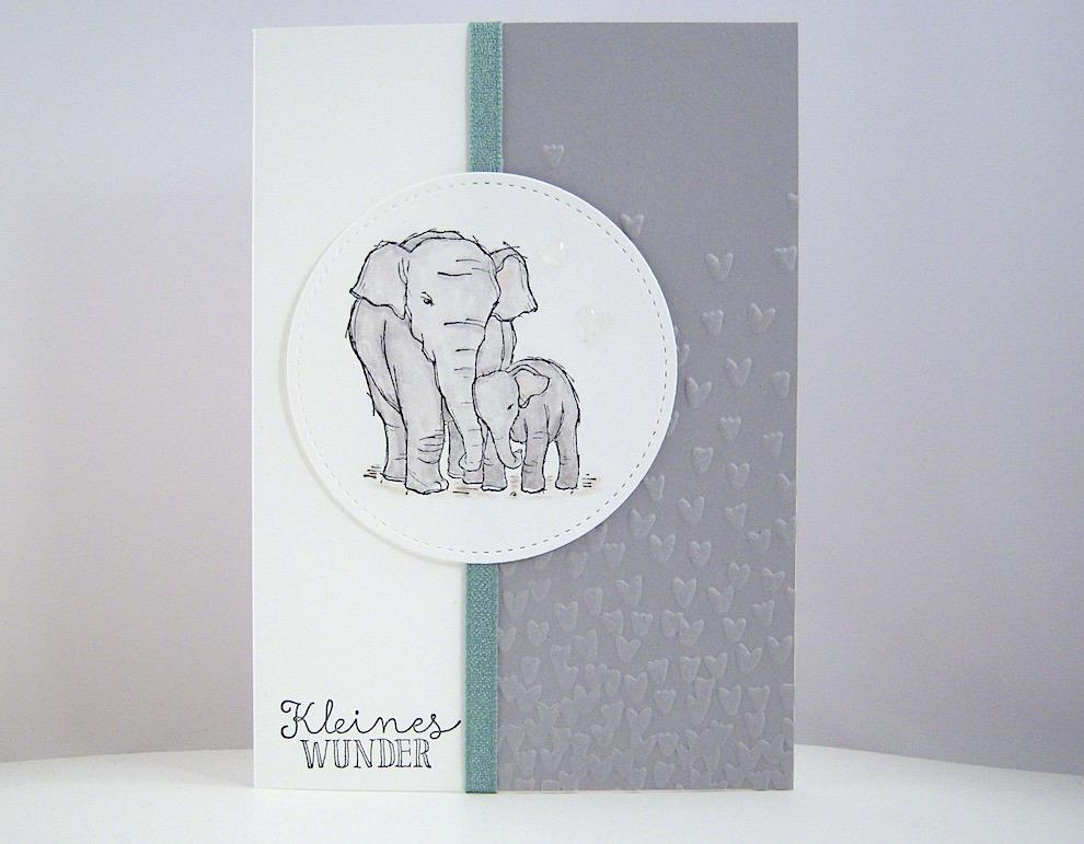 Geburt / Taufe - Karte zur Geburt Elefant Bild 1