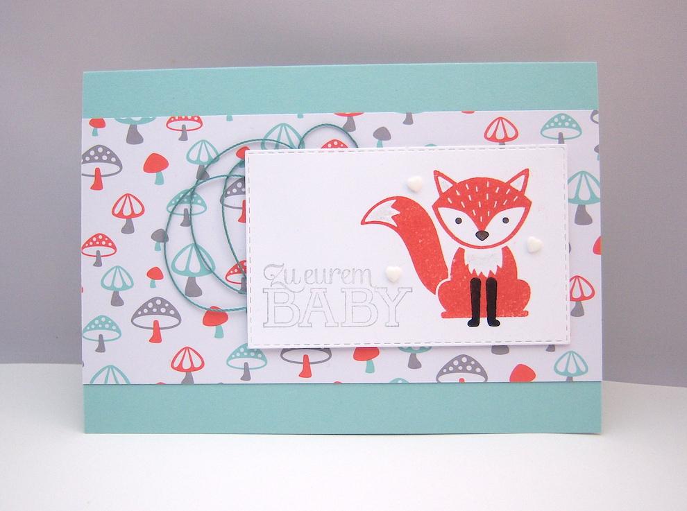 Geburt / Taufe - Babykarte Fuchs Bild 1