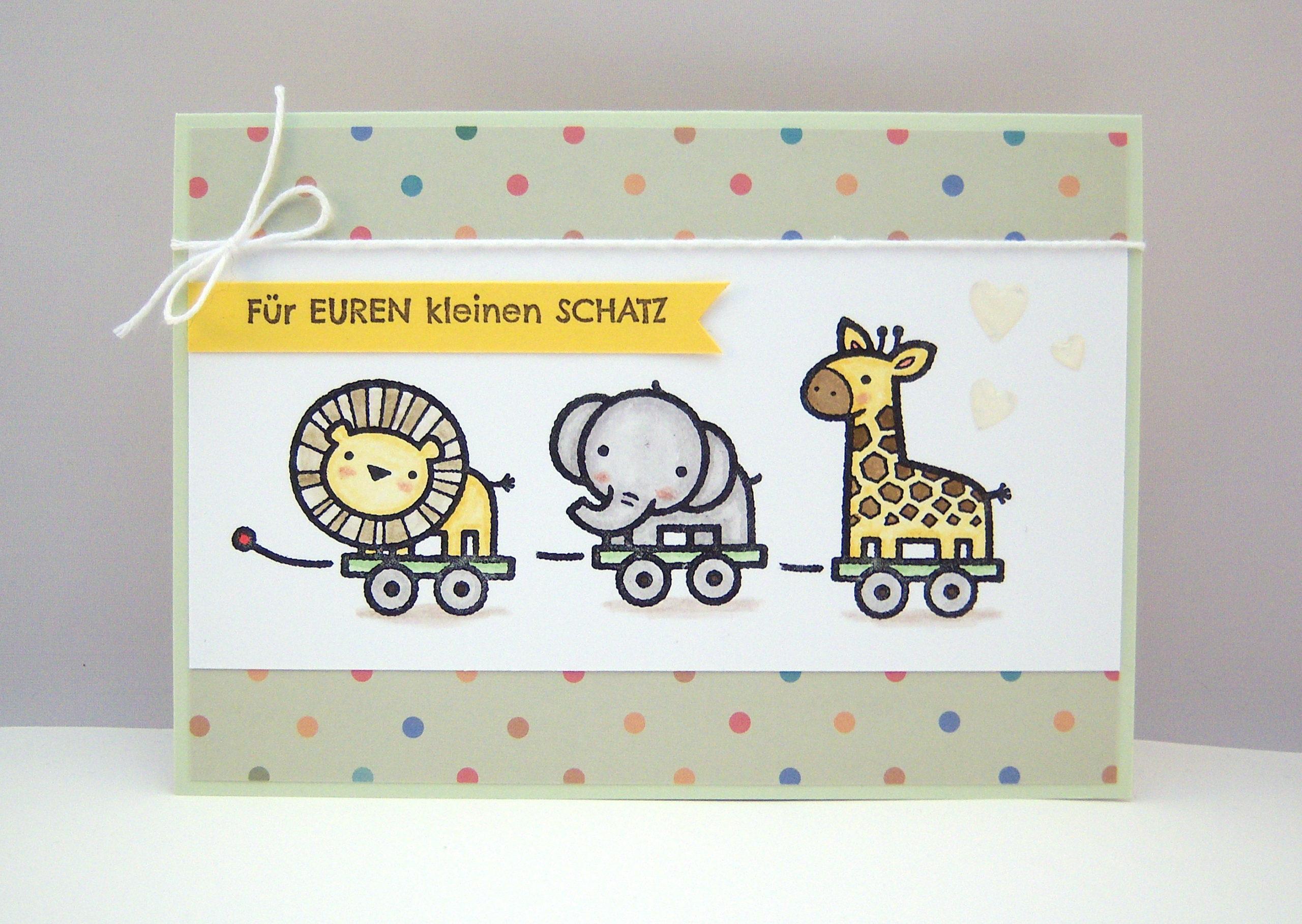 Geburt / Taufe - Karte zur Geburt Spielzeug Zootiere Bild 1