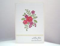 Karte zur Hochzeit Blumenranken 1