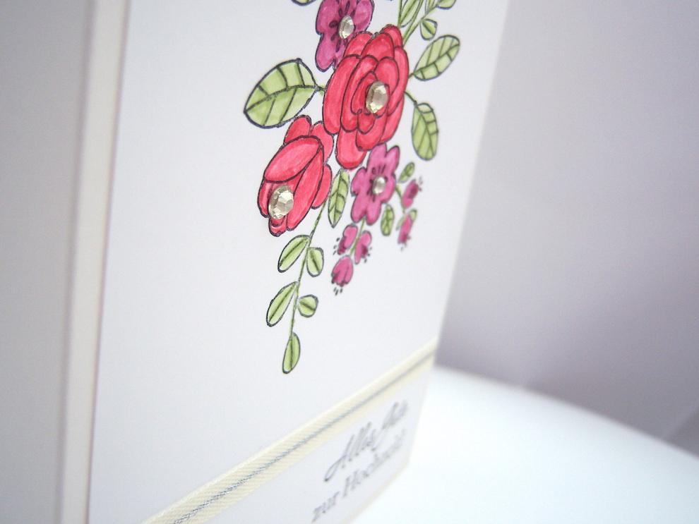 Karte zur Hochzeit Blumenranken 2