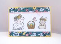 Osterkarte Schaf und Hase Bild 1