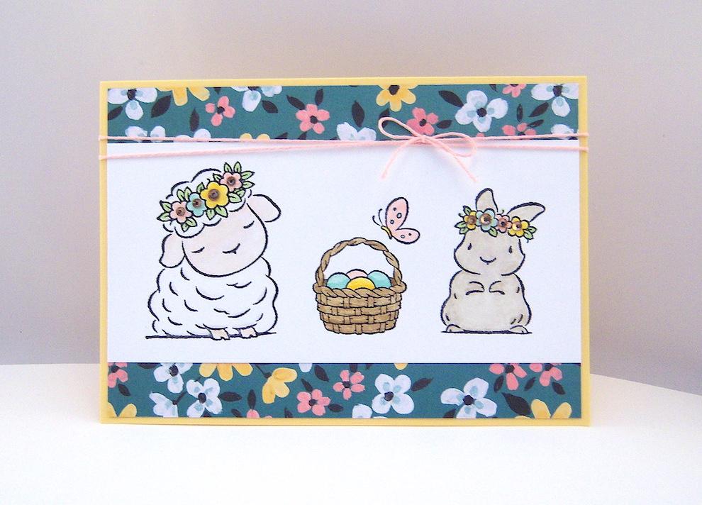 Ostern - Osterkarte Schaf und Hase Bild 1