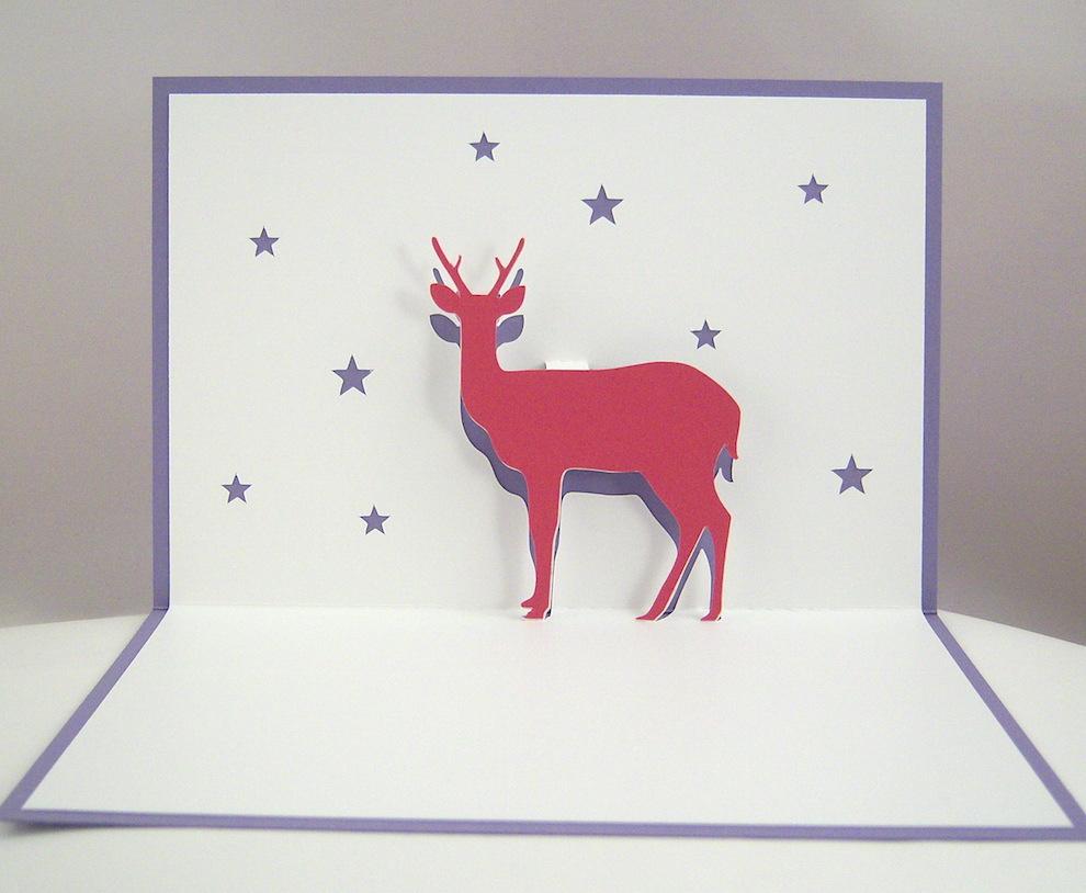Weihnachten - Pop-up Weihnachtskarte Rentier 1