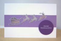 Weihnachtskarte fliegender Schlitten, lila Bild 1
