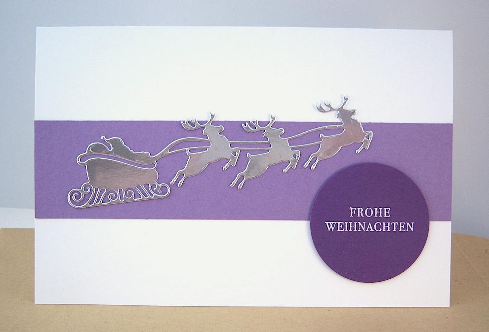 Weihnachten - Weihnachtskarte fliegender Schlitten, lila Bild 1