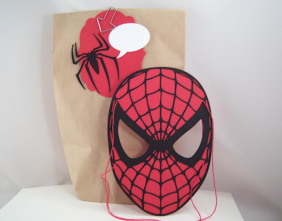 Geburtstag, Verpackungen - Spiderman-Maske und Geschenktüte Spinne Bild 1