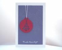 Weihnachtskarte -Baumkugel- lila Bild 1
