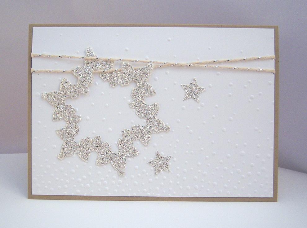 Weihnachten - Weihnachtskarte -Glitzerschneeflocke- Bild 1
