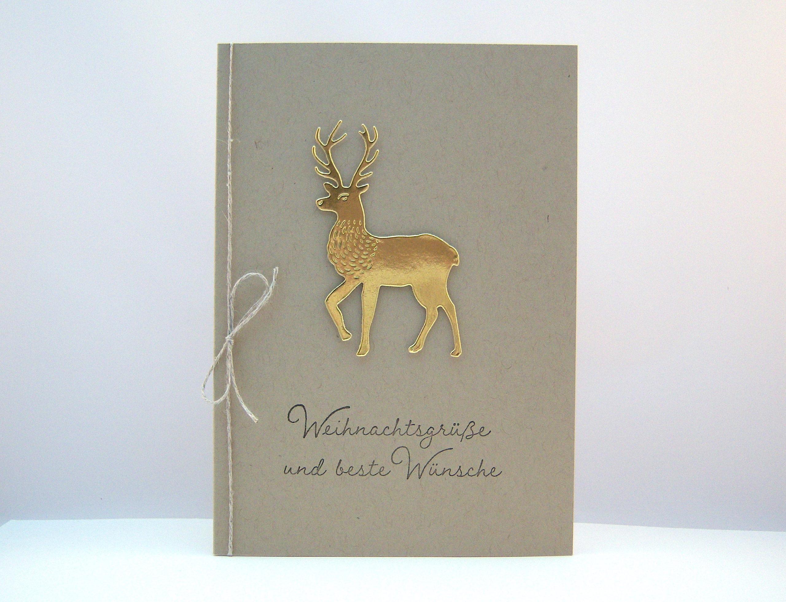 Weihnachten - Weihnachtskarte -Goldender Hirsch- Bild 1