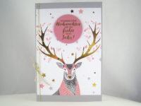 Weihnachtskarte Hirsch rosa
