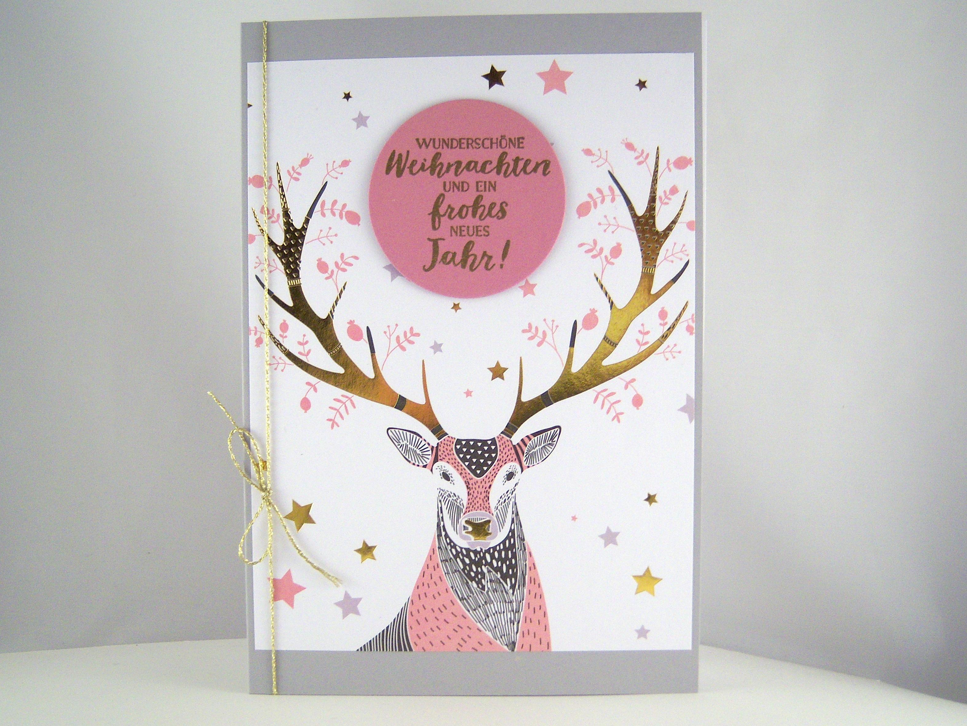 Weihnachten - Weihnachtskarte Hirsch rosa