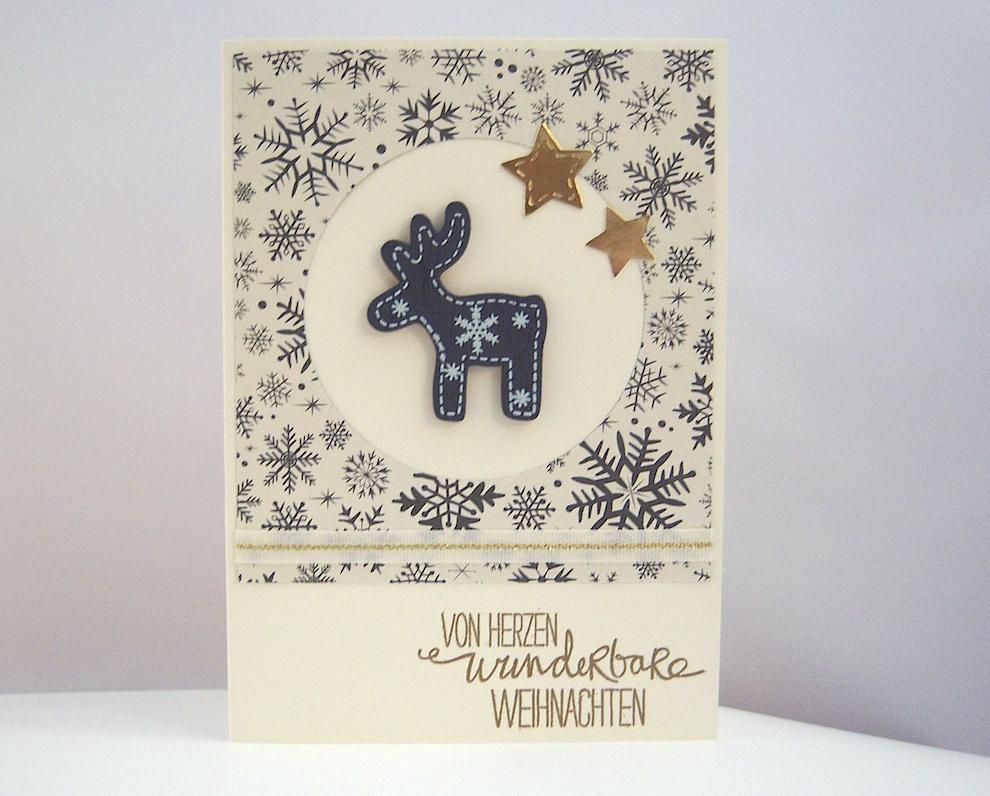Weihnachten - Weihnachtskarte -Holzhirsch- Bild 1