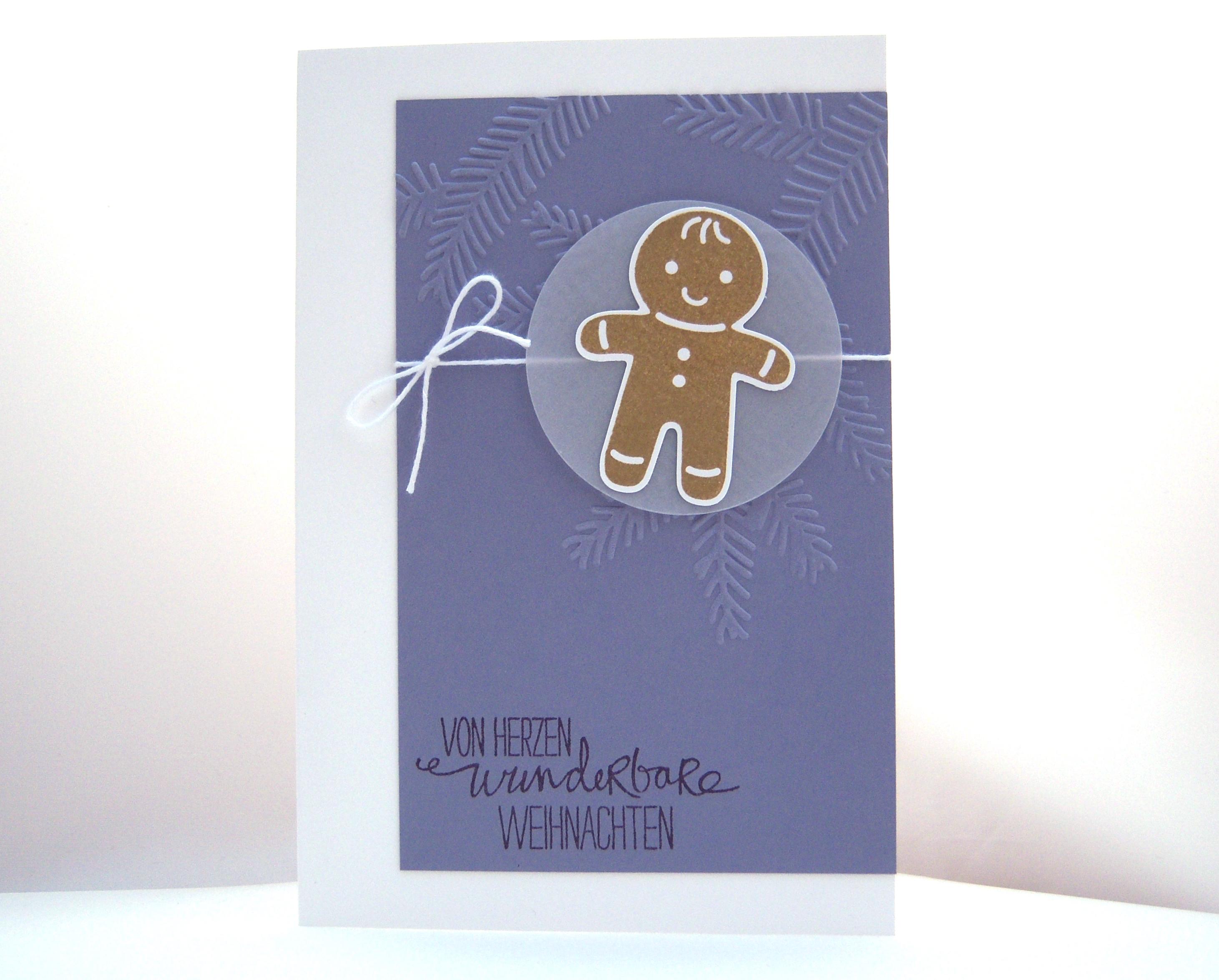 Weihnachten - Weihnachtskarten Lebkuchenmann, lila