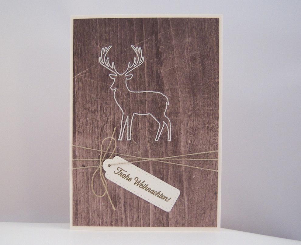 Weihnachten - Weihnachtskarte -Rentier Holz- Bild 1