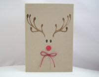 Weihnachtskarte -Rentiergesicht mit Schleife- Bild 1
