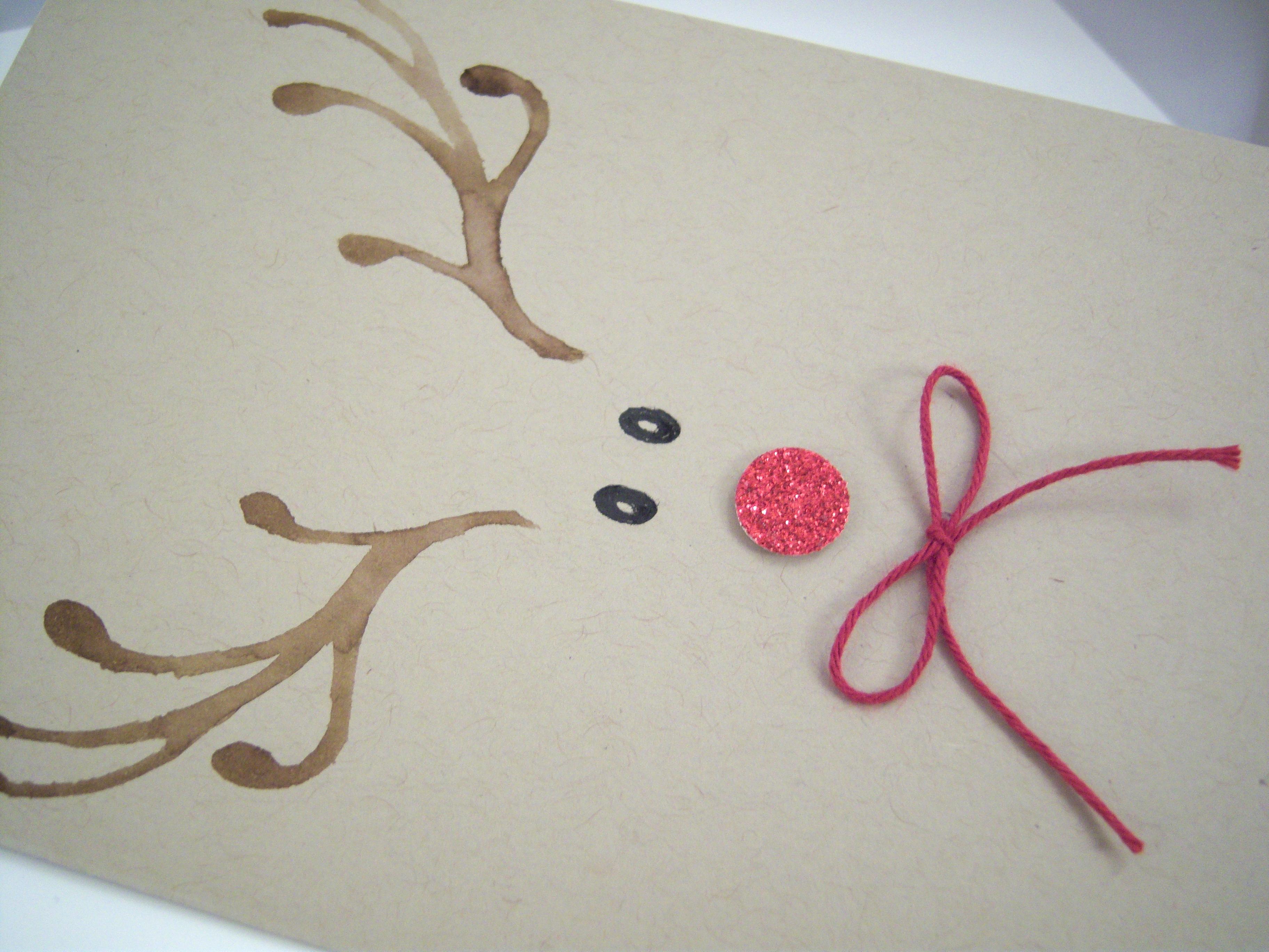Weihnachtskarte -Rentiergesicht mit Schleife- Bild 2