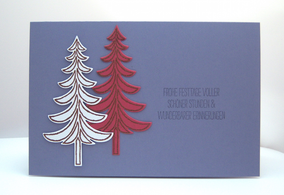 Weihnachten - Weihnachtskarte -Tannenbäume- lila Bild 1