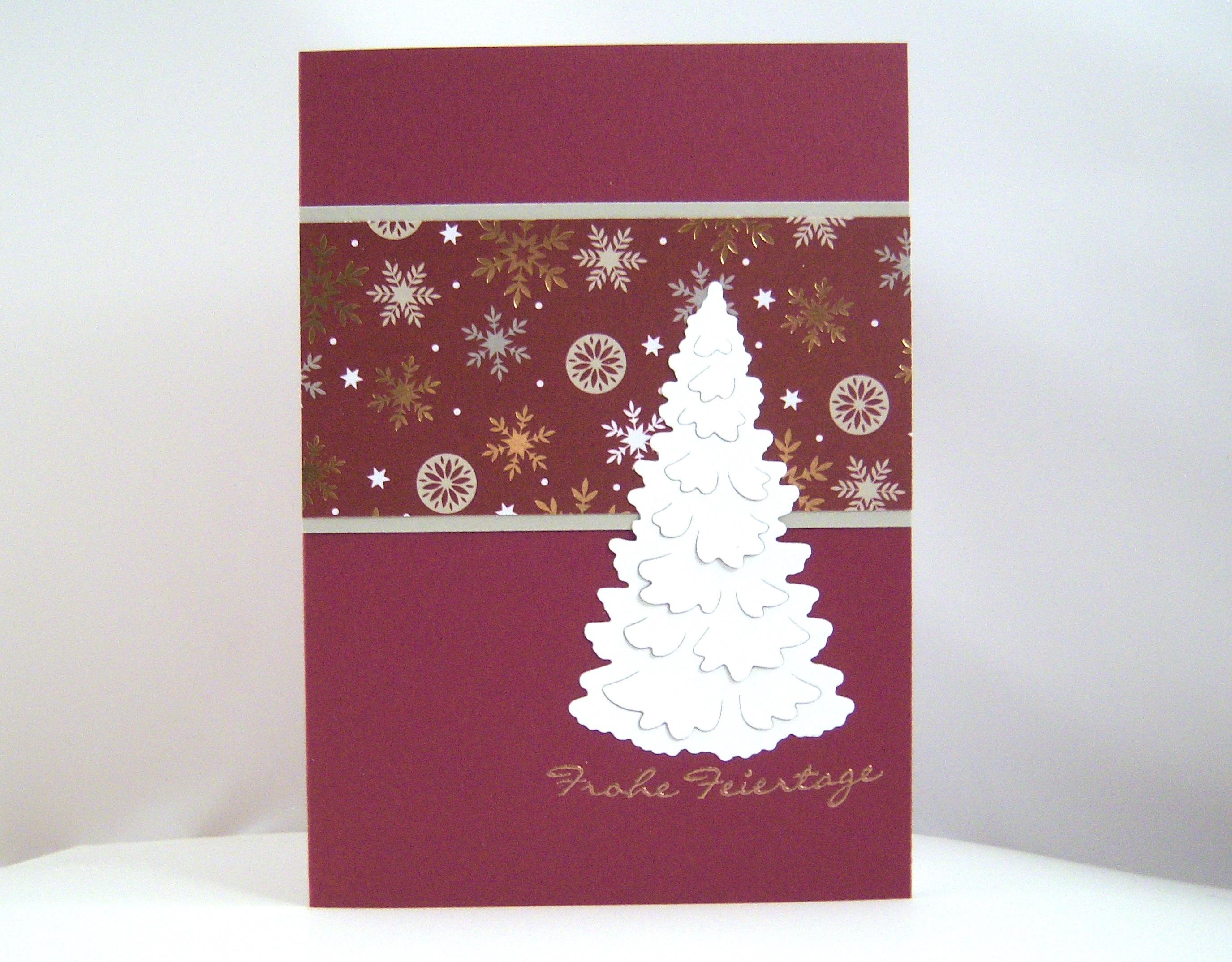 Weihnachten - Weihnachtskarte -Tannenbaum, brombeer- Bild 1